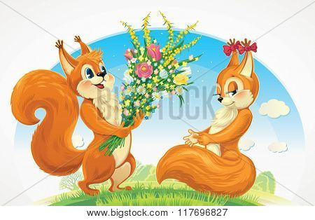 Squirrel character - a boy, give flowers a squirrel character  - a girl. Congratulations to her for the holiday.