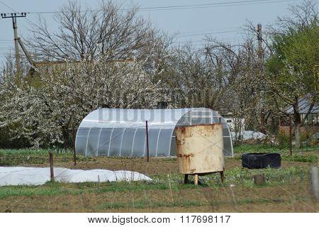 Greenhouse Polycarbonate In A Private Garden