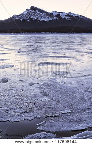 Icy Abraham Lake And Kista Peak