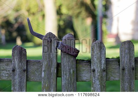 Old Wooden Fence Door With Metal Latch