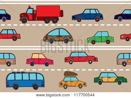 Stream of cars on the road. Seamless texture.