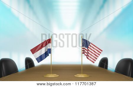 Netherlands and United States relations and trade deal talks 3D rendering