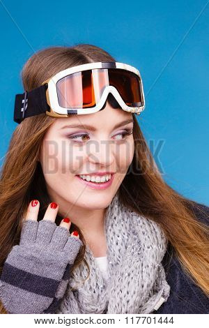Woman In Ski Googles Warm Winter Clothing Portrait