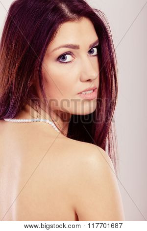 Brunette Long Hair Woman Wearing Pearls Necklace