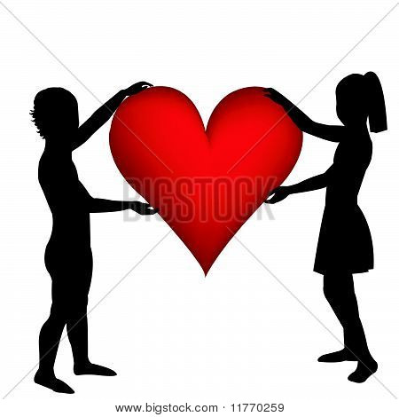 Two Hand Drawn Children Silhouettes Holding A Heart