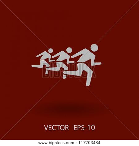 Flat icon of running mans