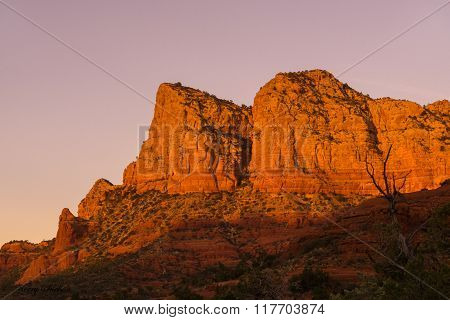 Sedona Red Rock Cliff At Sunset