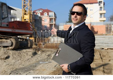 Businessman on the construction site