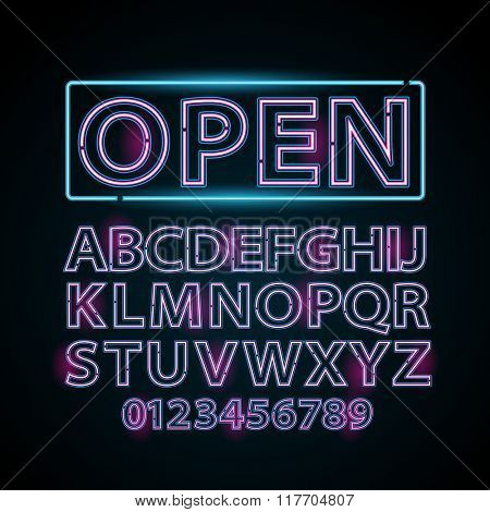 Vector pink and blue neon lamp letters font show vegas light sign theather