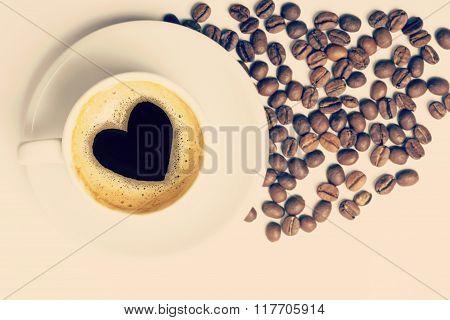 Coffee Cup With Love Heart Shape On Foam