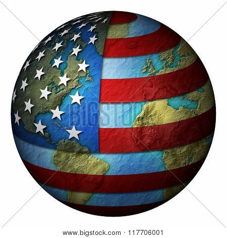 United States Flag Over Earth