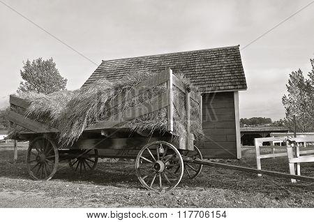 Old vintage rack for hauling loose hay