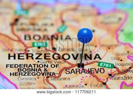 Sarajevo pinned on a map of Bosnia and Herzegovina