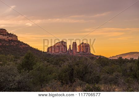 Cathedral Rock At Dusk