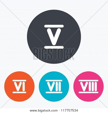 Roman numeral icons. Number five, six, seven.