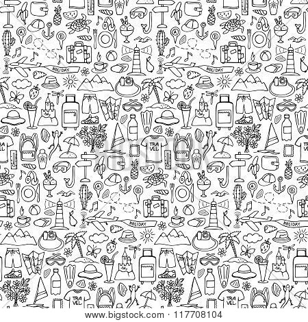 Hand drawn travel seamless pattern
