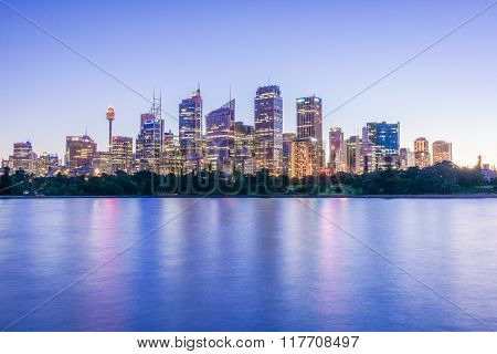Sunset lights over the Sydney Skyline, Australia
