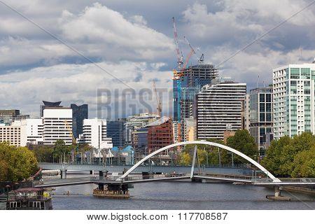 View of Southbank footbridge, Melbourne, Australia