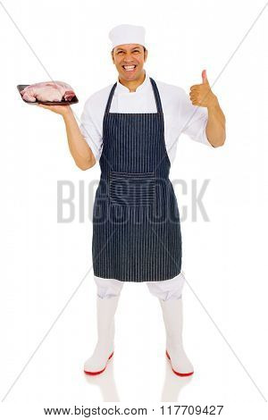 professional butcher holding raw meat isolated on white background
