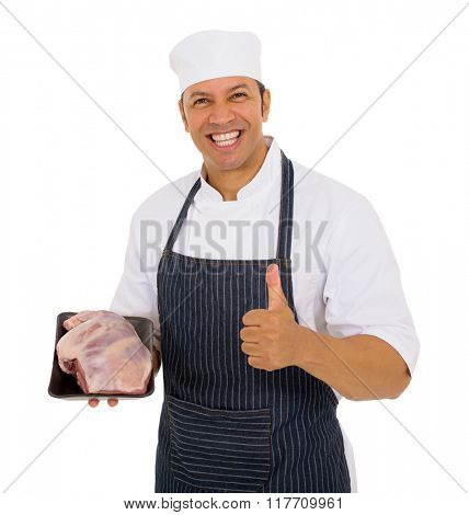 cheerful mid age butcher holding best quality meat