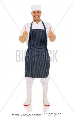 good looking middle aged chef giving thumbs up