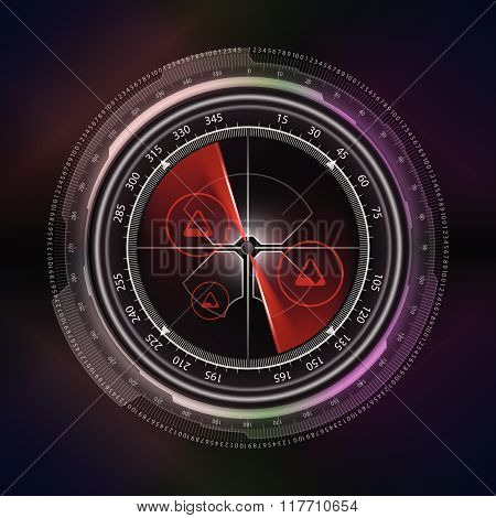 Radar Screen Display Technology Style Background Vector