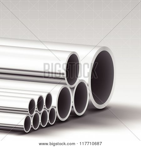 Stainless steel pipe material vector background Illustration