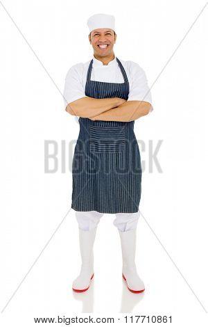 full length portrait of male butcher posing on white