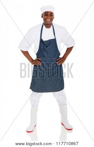 portrait of happy male african american chef isolated on white