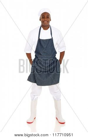 full length afro american male butcher posing on white background