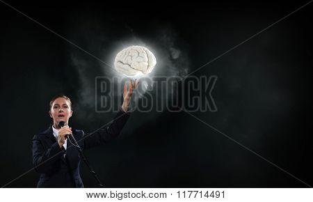 Announcing her impressive speech