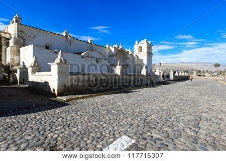 White Catholic church in rural Peru