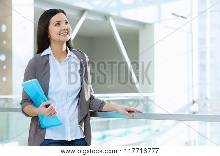 Attractive woman in office building