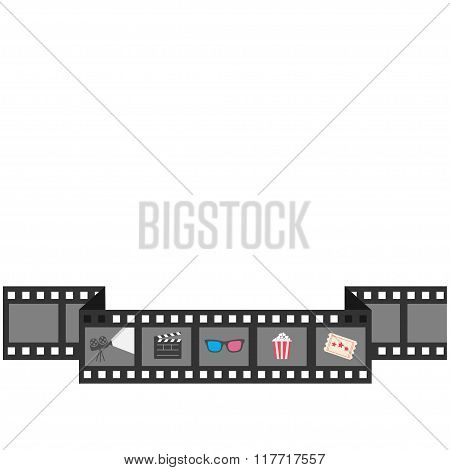 Film Strip Icon Set. Popcorn, Clapper Board, 3D Glasses, Ticket, Projector. Cinema Movie Night. Flat