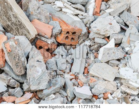 Mortar Fragments And Rubble