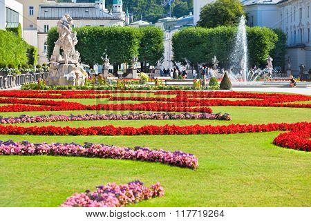 Famous Mirabell Garden View In Salzburg, Austria