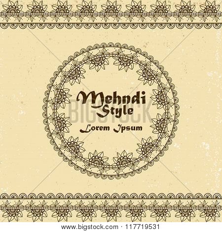 Vector Background With Hand Drawn Borders And Frame In Mehndi Indian Style
