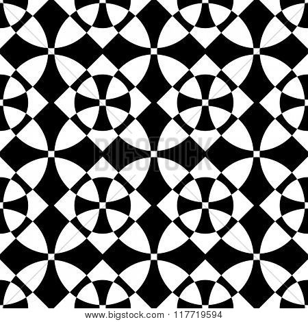 Seamless Oriental Ornament. Abstract Black and White Background. Vector Cross Pattern