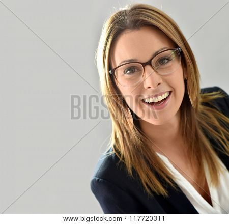 Closeup of beautiful woman with eyeglasses, isolated