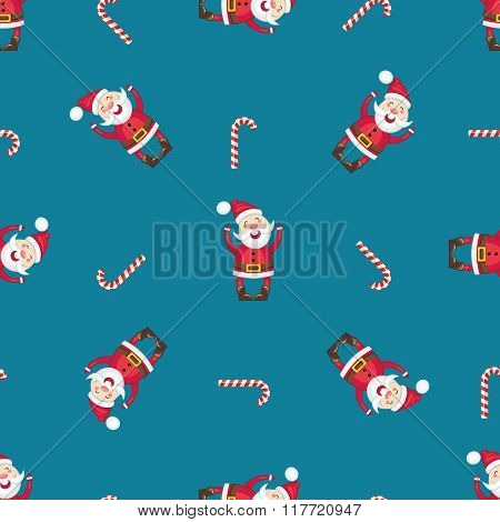 Seamless Pattern With Santa Claus  And Candy Cane