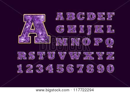 Stylized  Vector Sparkling Jeweled Amethyst Precious Stone  Fancy Latin Abc Alphabet. Use Letters To