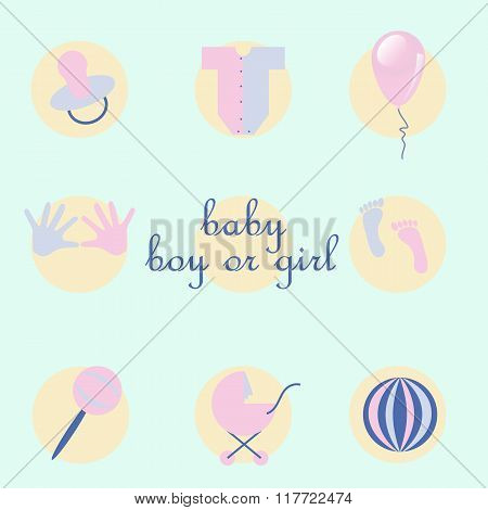 Set Of Baby Items In Style Flat