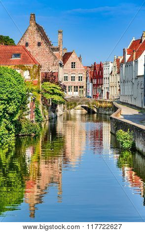 Bruges Belgium. Scenery with water canal in Bruges