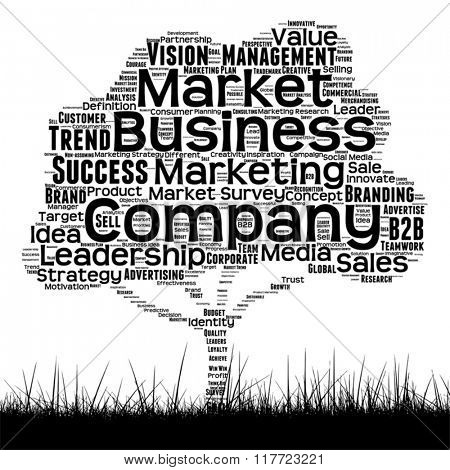 Vector concept or conceptual black media tree and grass word cloud on white background