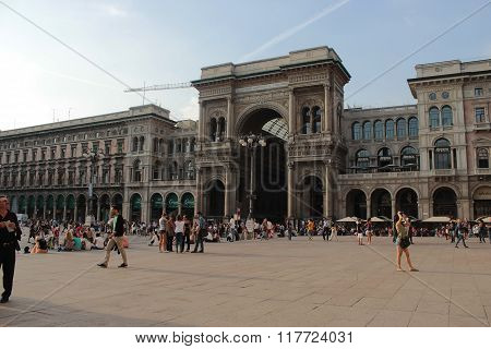 The Central City Square Of Duomo In Milan