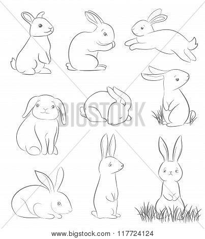 Set Of Cute Cartoon Rabbits
