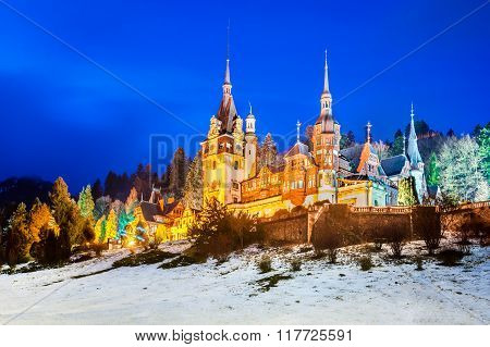 Peles Castle Romania. Twilight image if the most famous royal castle of Romania in Sinaia landmark of Carpathian Mountains and Europe.