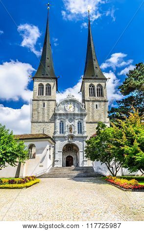 Luzern Switzerland. Church of St. Leodegar Hofkirche the most important church and landmark in the city of Lucerne. Swiss Confederation.
