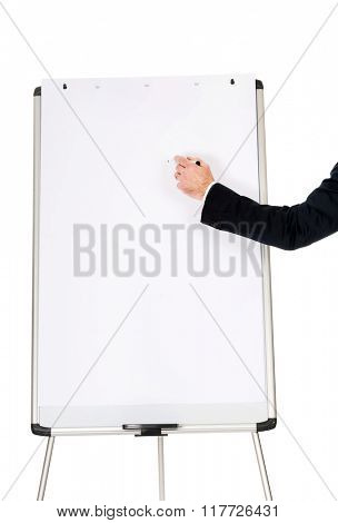 Male hand writing on a flipchart