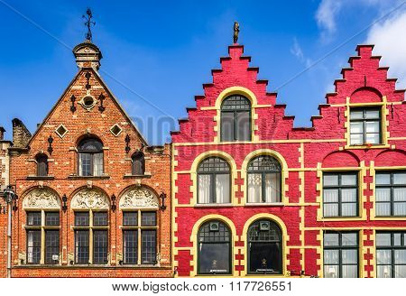 Bruges Belgium. Colorful houses in Markt main square of Brugge attraction of Brugge Flanders.